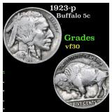 1923-p Buffalo Nickel 5c Grades vf++