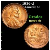 1936-d Lincoln Cent 1c Grades Choice Unc RB