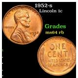 1952-s Lincoln Cent 1c Grades Choice Unc RB