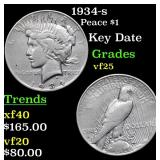 1934-s Peace Dollar $1 Grades vf+