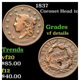 1837 Coronet Head Large Cent 1c Grades vf details