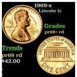 1969-s Lincoln Cent 1c Grades Gem++ Proof Red