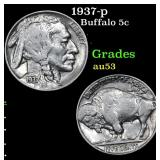 1937-p Buffalo Nickel 5c Grades Select AU