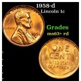 1958-d Lincoln Cent 1c Grades Select+ Unc RD