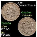 1838 Coronet Head Large Cent 1c Grades vf details