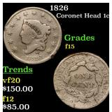1826 Coronet Head Large Cent 1c Grades f+