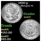 1890-p Morgan Dollar $1 Grades Select+ Unc