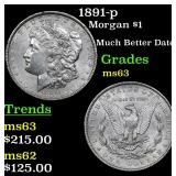 1891-p Morgan Dollar $1 Grades Select Unc