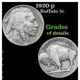 1920-p Buffalo Nickel 5c Grades vf details