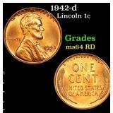 1942-d Lincoln Cent 1c Grades Choice Unc RD