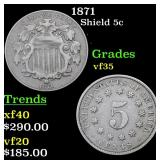 1871 Shield Nickel 5c Grades vf++