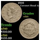 1816 Coronet Head Large Cent 1c Grades vf+