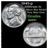 1945-p Jefferson Nickel 5c Grades Choice+ Unc