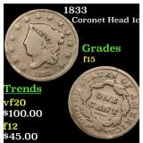 1833 Coronet Head Large Cent 1c Grades f+