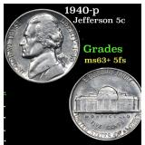 1940-p Jefferson Nickel 5c Grades Select Unc+ 5fs