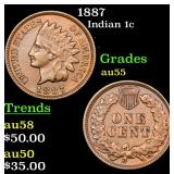 1887 Indian Cent 1c Grades Choice AU
