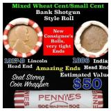 Mixed small cents 1c orig shotgun roll, 1917-d Whe