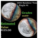 2003 Rainbow Toned Silver Eagle Dollar $1 Grades G