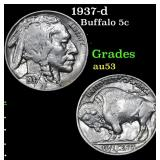 1937-d Buffalo Nickel 5c Grades Select AU