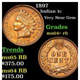 1897 Indian Cent 1c Grades Choice+ Unc RB