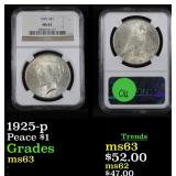 NGC 1925-p Peace Dollar $1 Graded ms63 By NGC