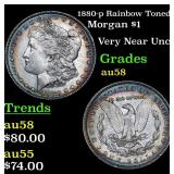 1880-p Rainbow Toned Morgan Dollar $1 Grades Choic