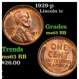 1929-p Lincoln Cent 1c Grades Select Unc RB