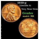 1939-p Lincoln Cent 1c Grades Choice+ Unc RB