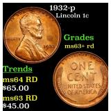 1932-p Lincoln Cent 1c Grades Select+ Unc RD
