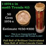 Full shotgun roll of 1975-s Lincoln Cents 1c Uncir