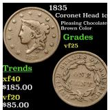 1835 Coronet Head Large Cent 1c Grades vf+