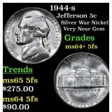 1944-s Jefferson Nickel 5c Grades Choice Unc+ 5fs