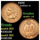 1909 Indian Cent 1c Grades Select+ Unc RD