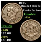 1845 Braided Hair Large Cent 1c Grades vf++