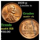 1928-p Lincoln Cent 1c Grades Select+ Unc RB