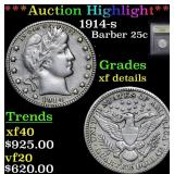 ***Auction Highlight*** 1914-s Barber Quarter 25c