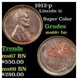1912-p Lincoln Cent 1c Grades GEM++ BN