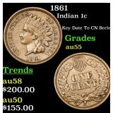 1861 Indian Cent 1c Grades Choice AU
