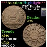 ***Auction Highlight*** 1787 Fugio Colonial Cent 1