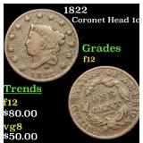 1822 Coronet Head Large Cent 1c Grades f, fine