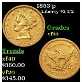1853-p Gold Liberty Quarter Eagle $2 1/2 Grades vf