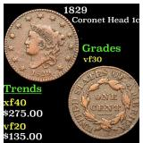 1829 Coronet Head Large Cent 1c Grades vf++