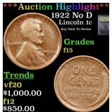 ***Auction Highlight*** 1922 No D Lincoln Cent 1c