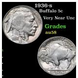 1936-s Buffalo Nickel 5c Grades Choice AU/BU Slide