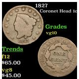 1827 Coronet Head Large Cent 1c Grades vg+