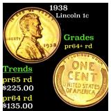 1938 Lincoln Cent 1c Grades Gem++ Proof Red