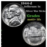 1944-d Jefferson Nickel 5c Grades Select Unc+ 5fs