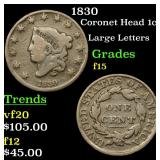 1830 Coronet Head Large Cent 1c Grades f+