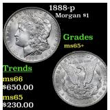 1888-p Morgan Dollar $1 Grades GEM+ Unc