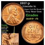 1917-p Lincoln Cent 1c Grades Choice+ Unc RB